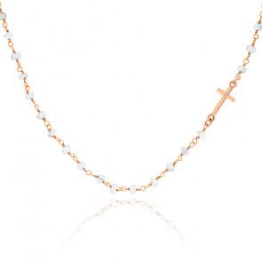 Collier chaîne perlée pierre de Lune plaqué or rose