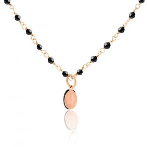 Collier chaîne perlée Madone onyx plaqué or rose enfant