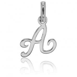 Pendentif lettre anglaise or blanc 18K