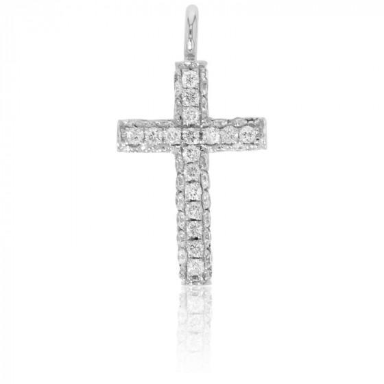 Croix or blanc 18K et pavage de diamants 0,12 carat