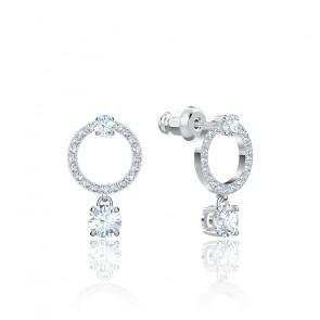 Boucles d'oreilles attract circle, blanc, métal rhodié
