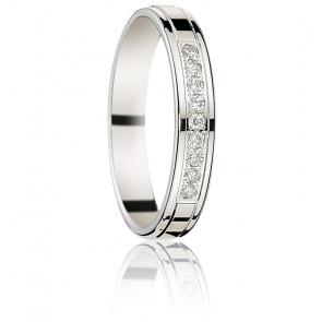 Alliance Lenisseï or blanc 18K & diamants 0.15 ct