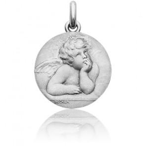 Médaille Ange Raphaël Or Blanc 18K