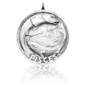 Médaille argent Zodiaque Signe du Poisson
