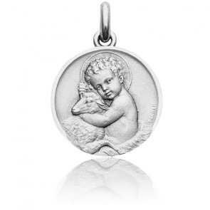 Médaille Enfant Jésus Or Blanc 18K