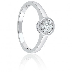 Bague Illusion or blanc & diamants 0,13 ct sertis clos