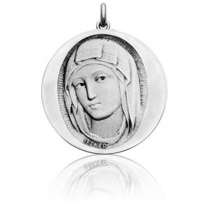 Médaille Vierge de Sienne Ronde Or Blanc 18K