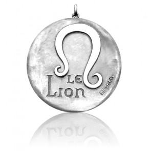 Médaille Zodiaque Signe du Lion Or Blanc 18K
