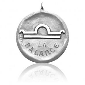 Médaille Zodiaque Symbole de la Balance Or Blanc 18K
