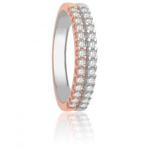 Alliance Arista Or Blanc & Or Rose 18K Diamantée 0,40 carat