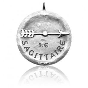 Médaille Zodiaque Signe du Sagittaire Or Blanc 18K