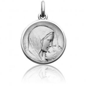 Médaille Vierge à l'Enfant le Baiser Or Blanc 18K
