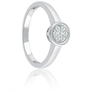 Bague Illusion or blanc & diamants 0,16 ct sertis clos