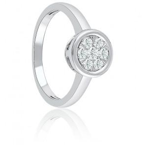 Bague Illusion or blanc & diamants 0,51 ct sertis clos