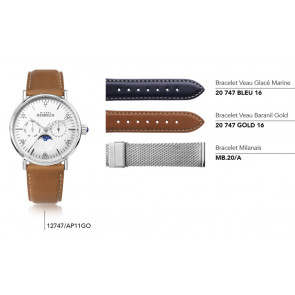 Bracelets en cuir ou maille milanaise pour montre série 12747/…