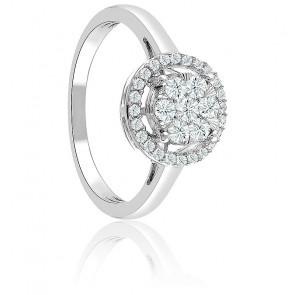 Bague Illusions or blanc 18K & diamants sertis entourage 1,02 ct