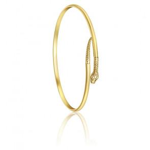 Bracelet Jonc Ovale Serpent, Or jaune 9K