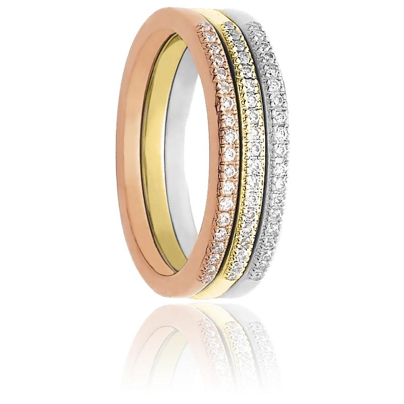 Bague Anneau Précieux 3 ors 18K & diamants 0,25 ct