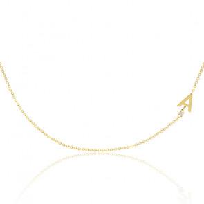 Collier lettres diamant & or jaune 18K