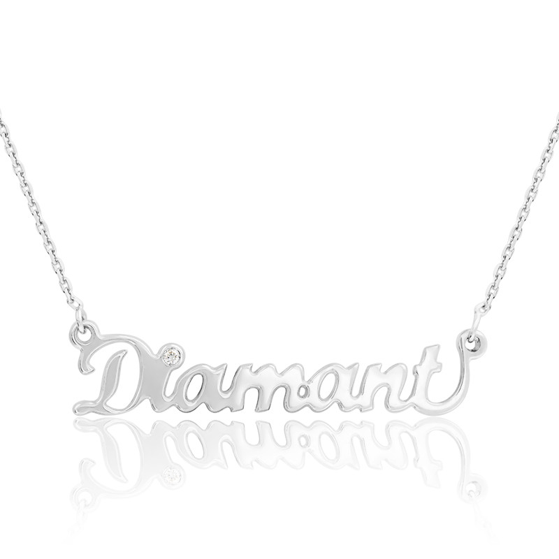 Collier prénom or blanc 18K, diamant 0,015 ct