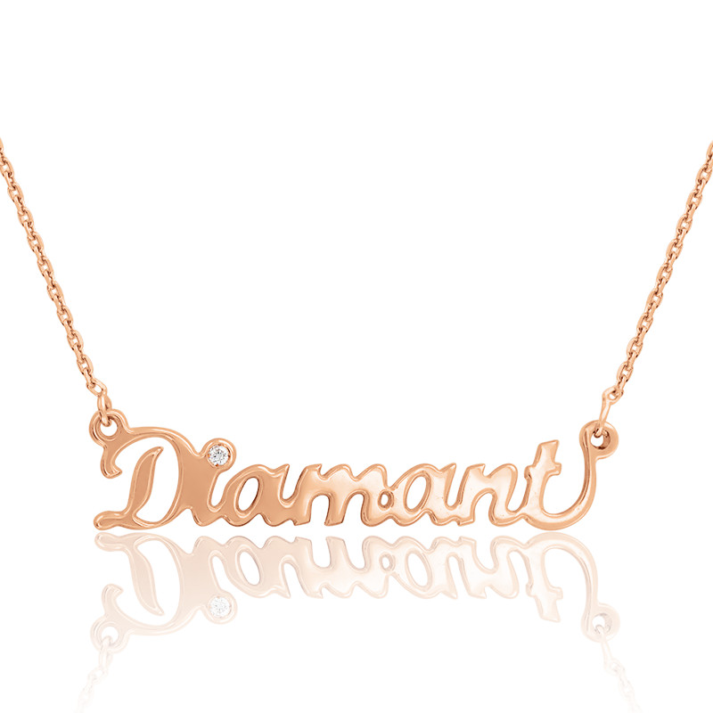Collier prénom or rose 18K, diamant 0,015 ct
