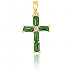 Croix émeraude rectangle et diamant or jaune 9K ou 18K