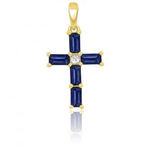 Croix saphir rectangle et diamant or jaune 9K ou 18K