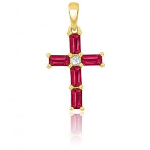 Croix rubis rectangle et diamant or jaune 9K ou 18K