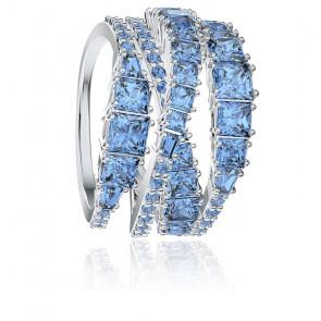 Bague twist wrap, bleu, métal rhodié
