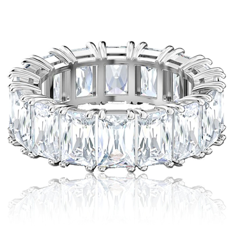 Bague vittore wide, blanc, métal rhodié - Swarovski - Ocarat