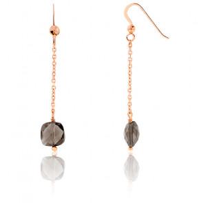 Boucles d'oreilles pendantes, quartz fumé et chaîne plaqué or rose
