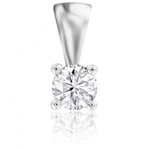 Pendentif 4 Griffes Diamant & Or Blanc 18K