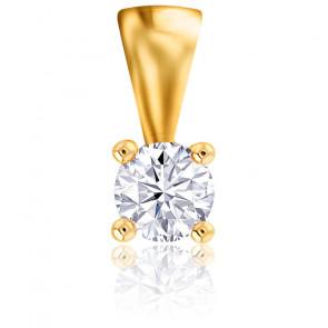 Pendentif 4 Griffes Diamant 0,18 ct & Or Jaune 18K