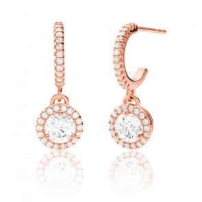 Boucles d'oreilles or rose & pierres