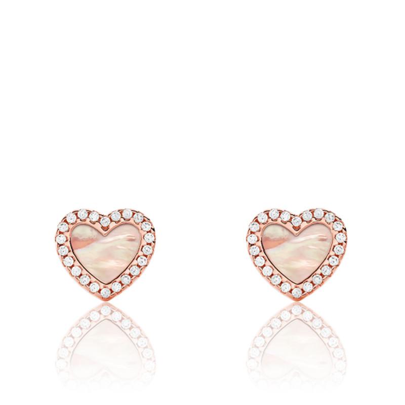 Boucles d'oreilles Coeur Or Rose & Pierres