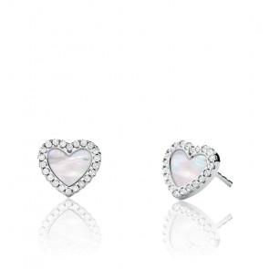 Boucles d'oreilles cœur argent & pierres
