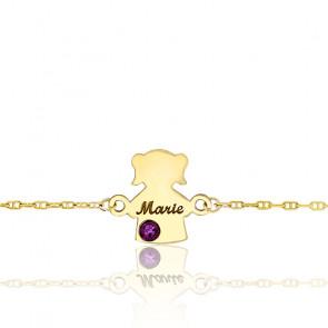 Bracelet Fille Pierre de Naissance Swarovski Or Jaune 9K