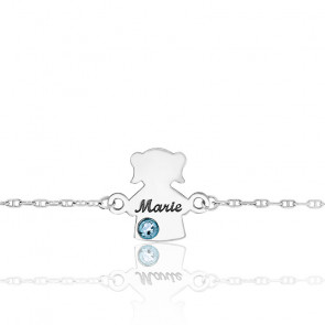 Bracelet Fille Pierre de Naissance Swarovski Or Blanc 9K
