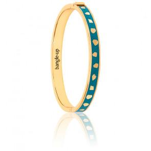 Bracelet jonc Jude bleu canard & plaqué or