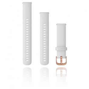 Bracelet de montre Quick Release Silicone Blanc Boucle Rose Gold 010-12932-02