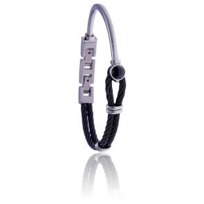Bracelet acier noir et onyx