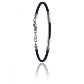 Bracelet câble acier noir et tube acier