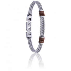 Bracelet 3 câbles acier et corde nautique marron