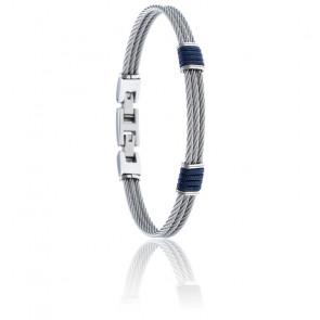 Bracelet 3 câbles acier et corde nautique bleue