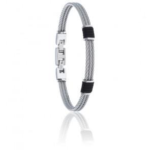Bracelet 3 câbles acier et corde nautique noire