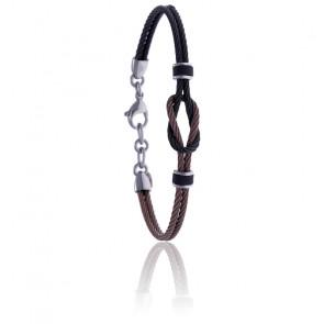 Bracelet nœud marin acier noir et marron