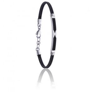 Bracelet 2 câbles acier noir et tube acier