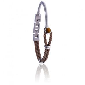 Bracelet acier marron et œil de tigre