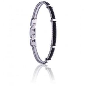 Bracelet 2 câbles acier et cuir tressé italien noir