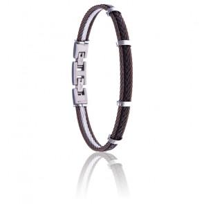 Bracelet 2 câbles acier marron et cuir tressé italien marron
